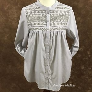 Embroidered Tunic-Length Button Down